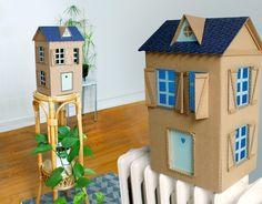 Je crée des maisons en carton depuis quelques temps, je me suis enfin décidée à en faire des lampes … !