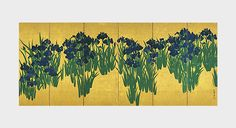 """The Genroku Era (1688-1704) characterized a time of economic stability as well as a revival in the Japanese arts and architecture.  This flourishing of the arts is evident in this eighteenth century Ogata Korin's painting, """"Irises"""", which depicts blue irises on a gold foiled panel screen. The richness and the amount of ink used to paint this """"National Treasure"""" speaks for itself in portraying the prominent cultural explosion of this time.J.Park…"""