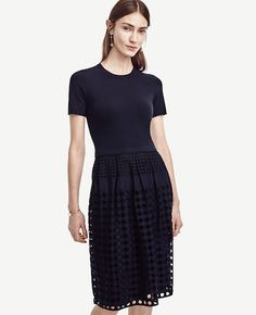 With a soft knit sweater atop a prettily perforated eyelet skirt, this multi-tasking style is endlessly versatile. Ribbed neckline and cuffs. dress length from shoulder to hem; lining length from shoulder to hem. Eyelet Skirt, Knit Sweater Dress, Petite Dresses, Navy Dress, Modest Fashion, Beautiful Dresses, Short Sleeve Dresses, Short Sleeves, Sweaters