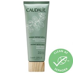 Caudalie Instant Detox Mask 2.5 oz/ 75 mL #CleansingMask Sephora, Clay Face Mask, Clay Masks, Oily Skin Care, Skin Care Tips, Talc, Tighten Pores, Dry Face, Face Skin
