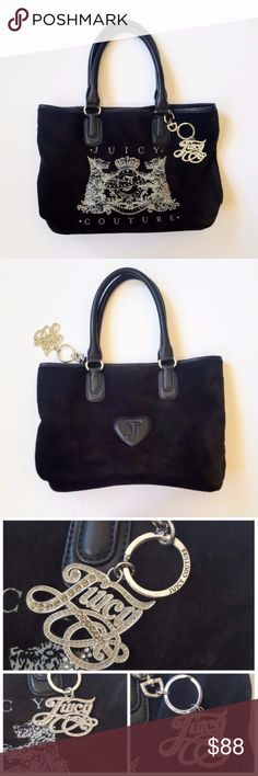 "Juicy Couture Scottie Velour Pammy Tote Black Bag Great overall condition. See last 2 pics for the signs of wear (stains on the inner tag, lining on one side, etc.). Velour has some teeny bits of lint here and there. Rhinestones intact. Keychain in beautiful condition. Minor wear on the handles.   Length approx 14 1/2"" when flat, 9 7/8"" height, 7"" strap drop, bottom padding 12 7/8"", depth 4 3/4"" Juicy Couture Bags Totes"