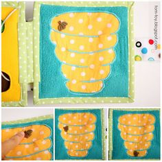 Quiet book for Vadim. Hive maze with a bee flying under mesh fabric.
