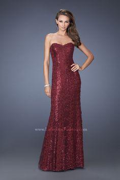 La Femme 19612 - wine prom dress - long wine sequin dress - strapless sequin gown - strapless sequin red gown - strapless sequin prom dress - sweetheart neckline sequin prom dress - red sequin prom dress