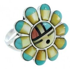 Silver Jewelry Multicolor Inlay Sun Ring Size 7-3/4 YS72263 Turquoise Rings, Turquoise Bracelet, Western Jewelry, Vintage Jewelry, Polymer Clay Ring, Industrial Jewelry, Native Art, Native American Jewelry, Sterling Silver Jewelry