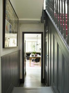 Imperfect Interiors redesign and renovate a 4 bedroom semi-detached Victorian house in Dulwich London Victorian House London, Victorian Hallway, Victorian Terrace, Victorian Homes, Cottage Hallway, Tongue And Groove Panelling, Wooden Panelling, Hallway Colours, Painted Staircases