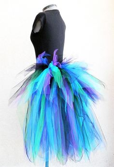 Peacock Pixie Bustle - Women's Custom Sewn 3 Tiered Pixie Tutu Bustle - Up to 30 inches in length. $60.00, via Etsy.