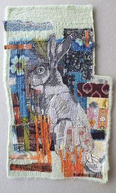 RESERVED FOR SUSAN! This hare is lovingly machine embroidered using vintage fabrics and woollen blanket. The rich colour palette evokes the