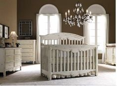 Bonavita Francais Vintage Style Crib - Love the crib in the center of the room and the chandelier.