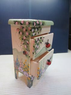 Ladybug Jewelry Box Hand Painted Wood by JewelryanotherStuff