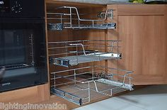 I want these in the kitchen! PULL OUT WIRE BASKETS FOR KITCHEN LARDER CUPBOARDS 300mm 400 500 600 800 900mm in Home, Furniture & DIY, Kitchen Plumbing & Fittings, Kitchen Units & Sets | eBay