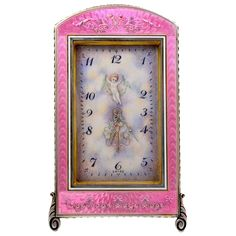 View this item and discover similar for sale at - Absolutely gorgeous antique enamel clock. Luminous pink guilloche enamel with floral decoration. Beautiful porcelain face showing a flying cherub carrying Antique Gold, Antique Jewelry, Retro Clock, Objet D'art, Cherub, Bridesmaid Gifts, Old Things, Gifts For Her, Enamel