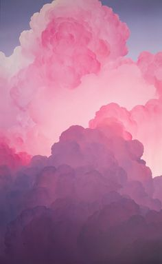 A painting of clouds with bright pink lighting