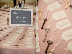 vintage keys used seating arrangements- makes sense for a rustic wedding theme