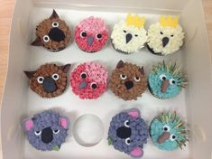 Australian animal cupcakes - so cute! Australian Party, Australian Food, Australian Animals, Australian Recipes, Cupcake Day, Cupcake Cakes, Australia Day Celebrations, Aus Day, Cupcakes For Men