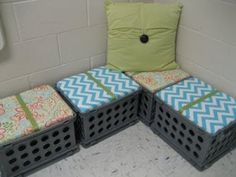 Must try this: Genius classroom seating! Get rid of the chairs around my reading table and stock each with a white board, supply box, journals, etc. for each student. Classroom Environment, Classroom Setup, Classroom Design, Owl Classroom, Preschool Classroom, Future Classroom, Milk Crate Seats, Milk Crates, Teacher Organization