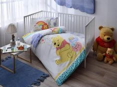 Winnie The Pooh Hunny Baby 4 Pcs Cotton Baby Duvet Quilt Comforter Cover Set Cot Bed Duvet Cover, Baby Duvet, Baby Bedding Sets, Cot Bedding, Duvet Cover Sets, Boy Nursery Colors, Baby Boy Nursery Themes, Kids Bedroom Sets, Bed Linen Sets