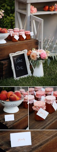 Party favors - like the chalk board take one sign.  Peach Jam Baby Shower Favors