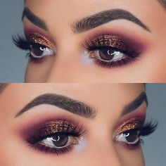 Purple and Bronze Glitter Eye Makeup Idea for Prom. Easy eye makeup tutorial for blue brown or hazel eyes. Great for that natural look hooded or smokey look and Kim Kardashian look. #hoodedeyemakeup