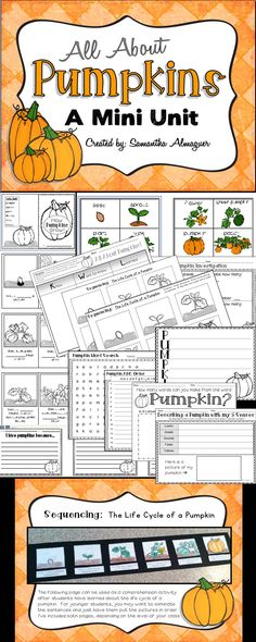 "This ""All About Pumpkins"" Mini Unit is such a fun way to welcome fall into your classroom! This Halloween-free resource is full of engaging, fun activities to help your students understand the life cycle of pumpkins. They will investigate pumpkins using their five senses, learn pumpkin-themed vocabulary, sequence pictures and sentences about the pumpkin life cycle, and write about pumpkins using descriptive words!  Great for grades 1-3"