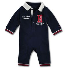 2494fe6b29f2 Baby Boy Pique Coverall Playsuit In Navy. Tommy Hilfiger ...