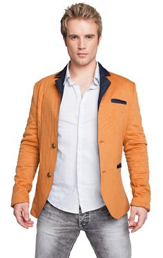 http://www.cityblis.com/item/6143   QUILTED JACKET MUSTARD - $214 by RNT23 Jeans   * Structured blazer * Constructed in quilted cotton for a slim fit * Contrast lapel * 2 pockets in front * Natural shoulder  * Cheetah print lining