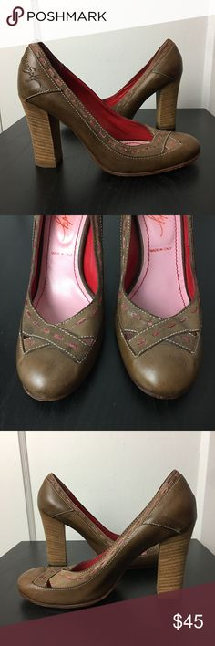 Miss Sixty Round Toe Chunky Stacked Heel Pump Miss Sixty  Round Toe High Heels  Stacked Chunky Blocked Heel Approx 4 inches Stitch Detail - Leather Upper Leather Sole  In great preowned condition - please see pics for any wear, color and detail Miss Sixty Shoes Heels