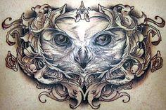 owl tattoo portrait