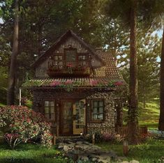 Cute Cottage, Cottage In The Woods, Cabins In The Woods, Cottage Ideas, House In The Forest, Cottage Crafts, House In The Woods, Stone Cottages, Cabins And Cottages