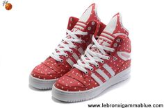 Star's favorite Girl Adidas X Jeremy Scott Big Tongue Shoes Rain Red Basketball Shoes Store