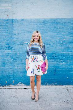 Spring has Sprung! Floral Stripe, Stripe Skirt, Summer Fashion Trends, Spring Fashion, Women's Fashion, Chic Outfits, Spring Outfits, Spring Clothes, Clothes Encounters