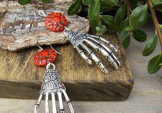 Day of the Dead Earrings Halloween Earrings Long Skeleton
