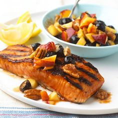 Barbecued Salmon with Fresh Nectarine Salsa This grilled salmon is served with a refreshing salsa recipe that combines nectarines, blueberries, pecans, and barbecue sauce, prepared from start to finish in less than 30 minutes.