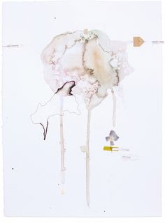 """Circuitous Journey, Fig. 10. 11"""" x 15""""  – watercolor, pencil, thread, wax, charcoal, india ink, paper, tape  Abstract mixed-media watercolor paintings by Claiborne Colombo."""