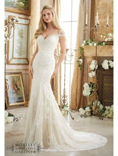 MORI LEE 2894 Embroidered Lace Gown with separate Tulle overlay