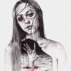 "Me vaciaste por dentro lo suficiente como para ser tu tumba. You emptied me inside enough to be your grave.  Thanks to @halseyeigh for the photo referente.  Tenía ganas de recuperar la serie de ""Muerto por dentro de un muerto por dentro""."