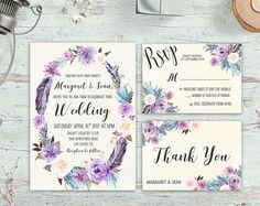 Printable Floral Rustic Wedding Invitation Boho by DigartDesigns