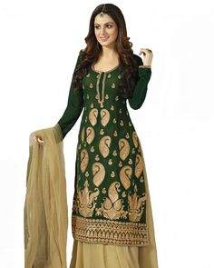 Designer Green/Beige Color Pakistani Suit