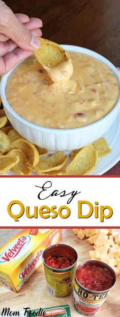 Easy Queso Dip Recipe - great party appetizer via Mom Foodie Appetizer Dips, Appetizers For Party, Appetizer Recipes, Party Dips, Party Snacks, Party Recipes, Cake Recipes, Dips Faciles, Dip Recetas