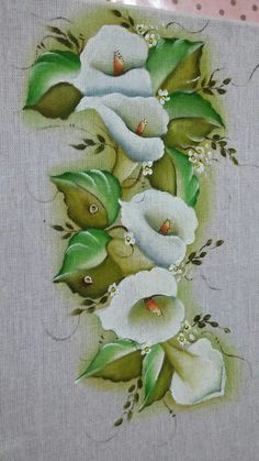 One Stroke Painting, Thread Painting, Fabric Painting, Artist Painting, Calla Lily Tattoos, Fabric Paint Designs, Color Magic, Acrylic Painting Techniques, Flower Pictures