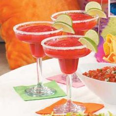 Mock Strawberry Margaritas. Sounds yummy and refreshing.