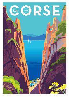 Monsieur Z Monsieur Z Corsica 2 Lithograph Art Deco Posters, Cool Posters, Poster Prints, Corsica Travel, Tourism Poster, Retro Poster, Travel Illustration, Retro Art, Vintage Travel Posters