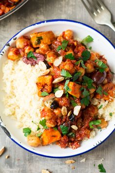 moroccan chickpea stew portion