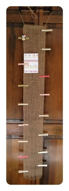 Christmas Card Display--Hang ribbon - this burlap is pretty - clip cards to it with clothespins. Primitive Christmas, Rustic Christmas, Winter Christmas, All Things Christmas, Christmas Holidays, Fall Winter, Christmas Card Hanger, Burlap Christmas Decorations, Christmas Banners