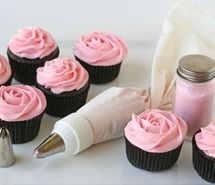 Inspiring picture cupcakes, flowers, photography, pink, roses.