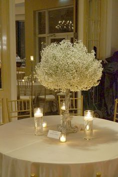 Babys Breath Centerpiece this might be pretty for some of the tables