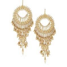 ISHARYA Moon Bali Reeya Pearl Gold Earrings ($500) ❤ liked on Polyvore