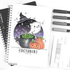 halloween bullet journal October cover page October cover page Bullet Journal Kawaii, Bullet Journal Cover Page, Bullet Journal 2020, Bullet Journal Ideas Pages, Bullet Journal Spread, Bullet Journal Layout, Bullet Journal Inspiration, Bullet Journal Halloween, Cover Pages