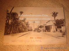 RARA Y ANTIGUA POSTAL DE ELCHE, ESTACION TREN, S.XIX. EXCELENTE CONSERVACION.
