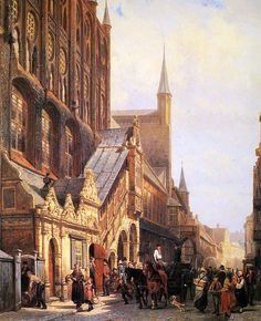 """Cornelis Springer. """"Sol en el Ayuntamiento de Liebeck"""" Las ciudades imaginarias de Cornelis Springer (1817 – 1891) http://eldibujante.com/?p=9418"""