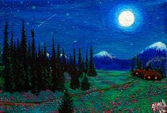 Mountain Cabin at Night in Alaska 4x6